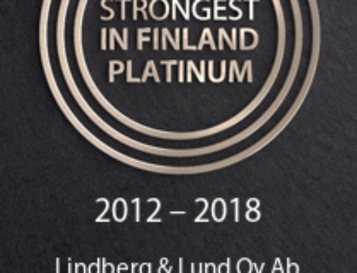 The Strongest in Finland Platinum certificate